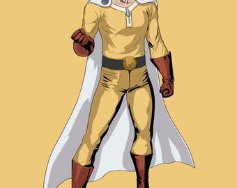 One Punch Man Art Print, Saitama, Superhero, Fan Art, 16x23 Poster Print