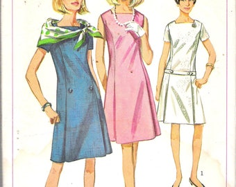Vintage 1966 Simplicity  6916 Mod One-Piece Dress Sewing Pattern Size 12 Bust 32""
