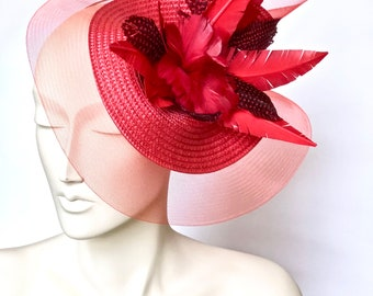 Kentucky Derby Red Fascinator Red Derby Church Hat Red Easter Hat