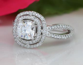 Double Diamond Halo Moissanite Engagement Ring, Cushion Cut Forever One