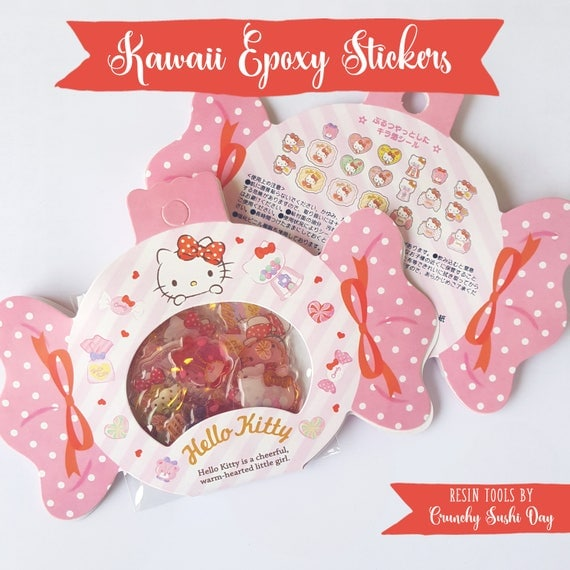 20 PCS Epoxy Sticker Set, Kawaii Stickers, Kitty, Resin Stickers, Cute Stickers, Pastel, Sticker Flakes, Planner Stickers, Japanese