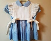 Vintage Girls Dress in Blue with White Apron Pinafore Top by C.I. Castro for Saks Fifth Avenue- Size 24 - New, never worn