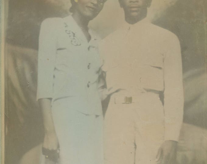 Tinted 8x10 Portrait of African American Couple, c1940s (711618 O/S)