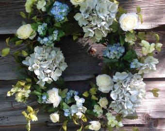 Summer Wreath, Shabby Chic Wreath, Farmhouse Decor, Front Door Decor, Spring Wreath, Outside Wreath, Spring Wreath