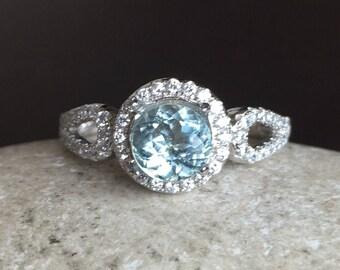 Rose Gold Aquamarine Ring- Deco Aquamarine Engagement Ring- Blue Gemstone Promise Ring- March Birthstone Ring- Double Band Anniversary Ring