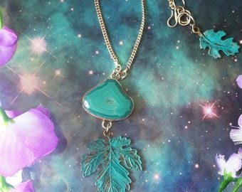 Turquoise druzzy Agate crystal leaf necklace