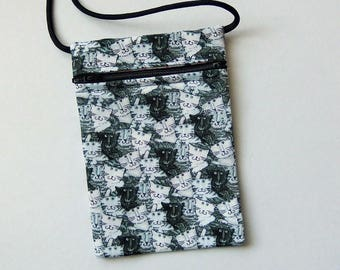 """CATS Zip Bag Pouch - Cell Phone Pouch. Great for walkers, markets, travel. Small fabric Purse. Grey White Cats fabric 6.5x4.25"""""""