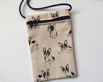 """Pouch Zip Bag FRENCH BULLDOG Fabric.  Great for walkers, markets, travel. Cell phone pouch. small fabric purse. terrier puppies 6.75""""x4.25"""""""