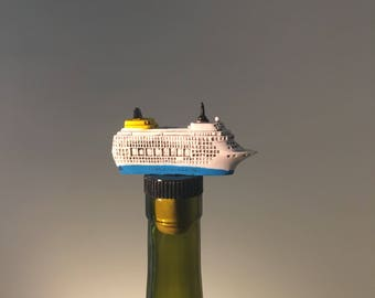 Cruise Ship Wine Stopper, Cruise Ship Gift , Gift for Cruise Lover, Boat Wine Gift, Wine and Boating, Cruise Vacation, Vacation Cruise, Wine