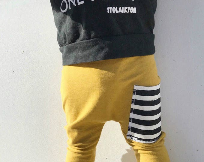 Featured listing image: Hipster Baby Pants   Baby Harem Pants   Baby Harems   Leggings   Baby Boy Pants   Baby Pants   Joggers   Mustard + Stripe Pocket Pants