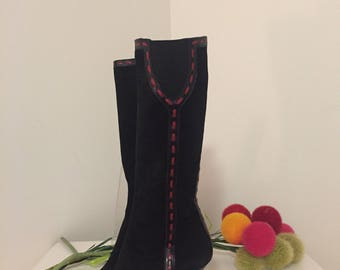 DONALD PILNER BOOTS, Black Leather Red Stitching, High Heel Boots, Made In Italy, Couture, Pilner Peace Boots, Size 6 at Ageless Alchemy