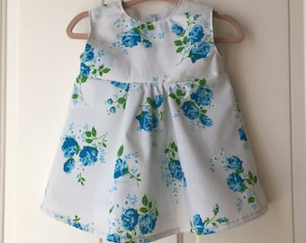 Handmade Vintage Style Floral Infant/Baby Dress 0-3 Months