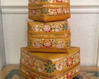 Vintage India Folk Craft - Three Nesting Baskets - Bright Gilded Funky Storage