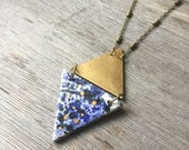 Blue Speckled Double Triangle Ceramic Necklace