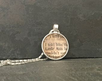 Book page pendant, Where the Red Fern Grows, Where the Red Fern Grows necklace, book necklace, book lover gift, Wilson Rawls, Little Ann