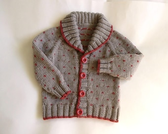 Hand knit warm cardigan, knitted wool jacket, woollen baby knitwear, neutral fawn baby sweater, spotted cardigan, fit 9 months to 1 year