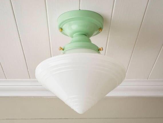 Semi Flush Ceiling Lights Glass Brass Fixture Bathroom: Vintage Rewired Semi Flush Mount Ceiling Light Fixture Art