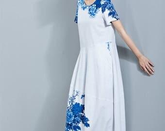 Floral Print Linen Dress,Flower Dress,Midi Length Dress,Loose Dress,Irregular Hem Dress,Round Collar Dress,Summer Dress C1134