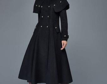 long black coat, winter Coat, fitted coat, black coat, wool jacket, double breasted coat, coat, long wool coat , womens coat C957