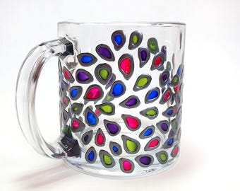 Hand Painted Glass Mug - Peacock Tears - Translucent Pink, Green, Blue, and Purple Teardrops with Pewter Colored Outline on Clear Glass Mug