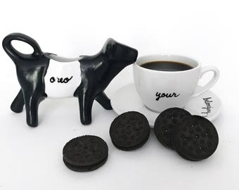 Upcycled Porcelain Cow Creamer Black and White Oreo Cow Fun Funny Tableware