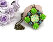 Green Floral Necklace, Floral Necklace, Colourful Necklace, Green Rose Necklace, Flower Jewellery, Tree Necklace, Green Tree Necklace,