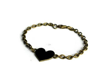 Black Heart Bracelet, Black Heart Jewelry, Friendship Bracelet, Love Heart Bracelet, Chain Bracelet, Gothic Jewellery, Gifts for Friends