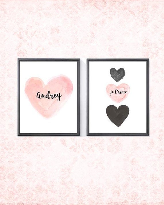 Blush and Black Nursery Decor, Set of 2 - 8x10 Personalized Prints with Name and Je t'aime