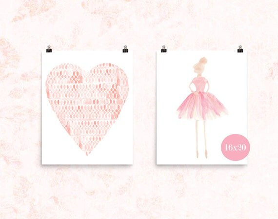 Ballerina Poster Set in Blush, 16x20 Set of 2