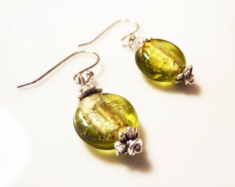 Olive Green Silver Foiled Glass Earrings