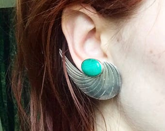 1970s Sterling Silver Malachite Art Deco Ear Cuff Earrings