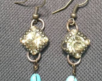 Turquoise and sparkly re-purposed element Earrings