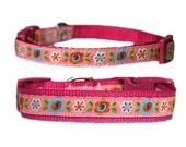 "Flower Dog Collar 3/8"" or 5/8"" Raspberry Pink Dog Collar"