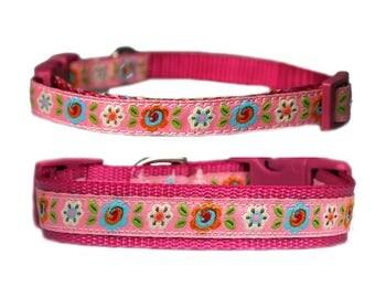 "Flower Dog Collar 3/8"" or 5/8"" Raspberry Pink Collar"
