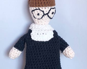 Supreme Court Justice Ruth Bader Ginsburg Crocheted Stuffed Doll - The Notorious RBG - Feminist Icon Ruth Bader Ginsburg Amigurumi Doll
