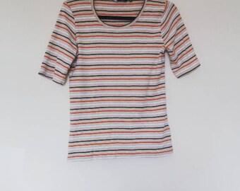 Stripe T-Shirt Vintage Orange Grey Top Retro White Cream Tee Oversize Short Sleeve Striped Shirt Women's Ladies Stripey Blouse 60s 70s