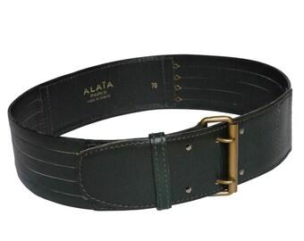 ALAIA 1990s Vintage Green Leather Belt Azzedine Alaia Statement Belt Size XS-Small