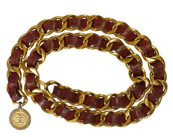 CHANEL 1970s Vintage Statement Chain Belt Gold CC Coco Signature Pendant Burgundy Red Leather Size Small Medium