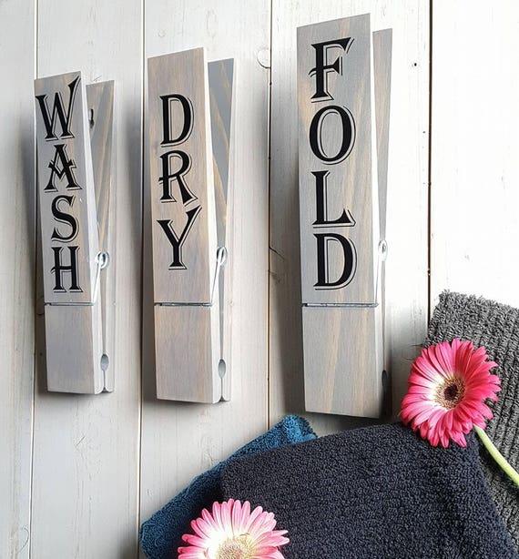 Wash Dry Fold Clothespin Decor Laundry Farmhouse