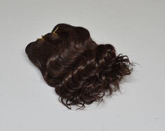 Super soft curled weft mohair, weft for mohair wig dolls, dark brown