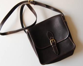 Vintage Cole Haan Crossbody Purse Handbag in Brown Leather
