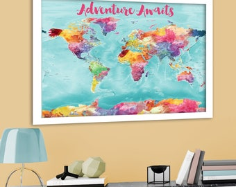 Colorful World Map Bright World Map With Us States Cities Large Detailed World