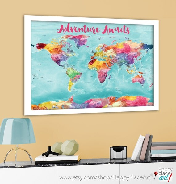 Colorful world map bright world map with us states cities like this item gumiabroncs Choice Image