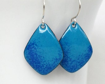 Teal and Cobalt Blue Enamel Diamond Earrings - Enamel Jewelry