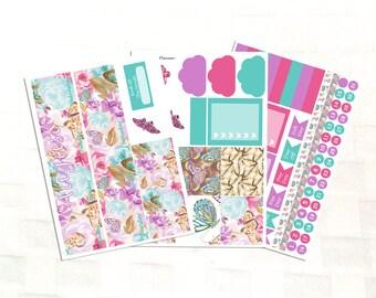 August Monthly View Summer Butterflies Planner Sticker Kit, Vinyl Stickers, Floral, Happy Planner Sized