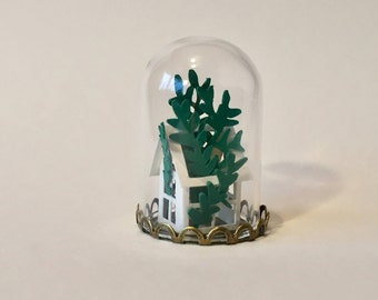 Miniature Paper House, Mini Paper Greenhouse, Paper Plant, Gift for Her, Paper Anniversary Gift, Paper Art, Gift for Friend, Paper Gift