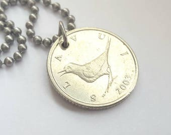 2003 Coin Necklace with Bird - Stainless Steel Ball Chain or Key-chain - 1 Kuna