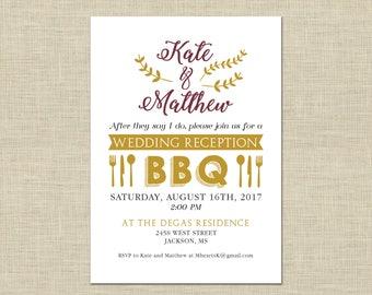 Printable BBQ Wedding Reception Invitation, Celebration, After Party Invitation Custom Printable 5x7