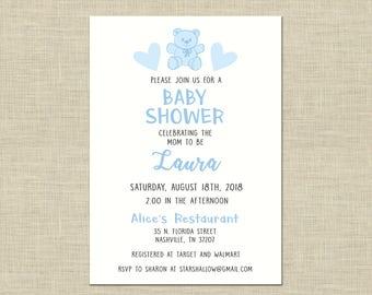 Baby Shower Invitation custom printable, baby shower, celebration, gender reveal, boy, its a boy, blue, teddy bear