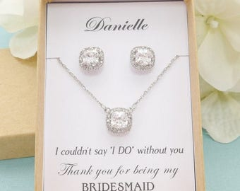 SALE Personalized Bridesmaid Gift, Bridesmaid Jewelry Set, Bridesmaid Earrings and Necklace Bracelet Set, Princess Cut Earrings, Wedding Jew